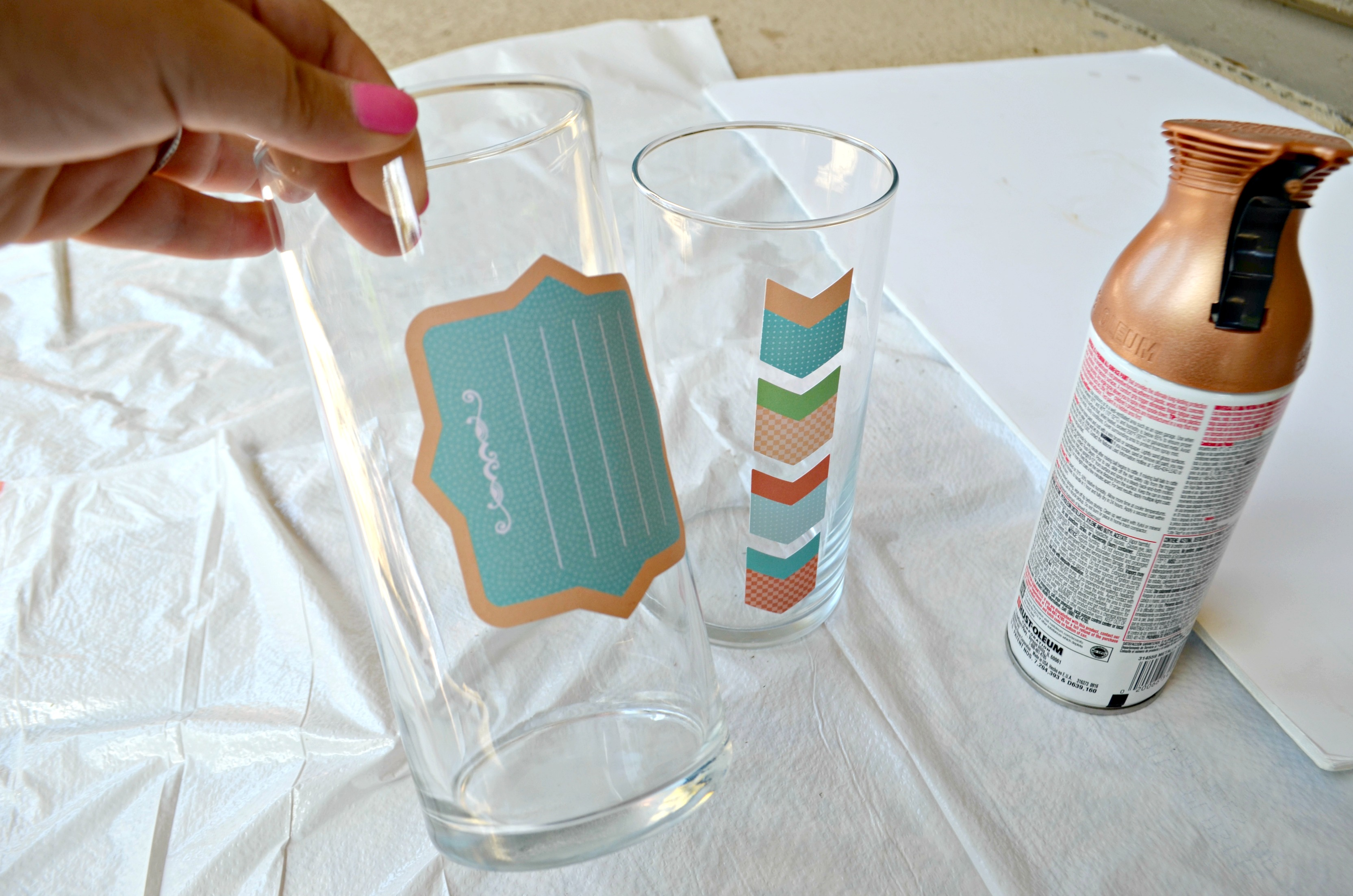 Adhesive stickers form the frame and should be applied prior to painting.