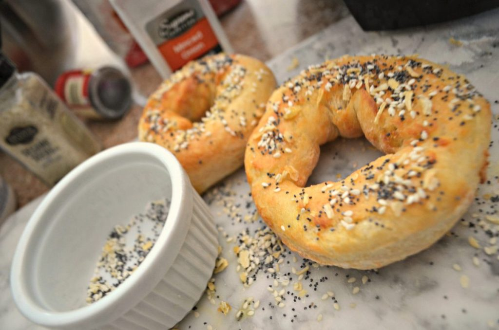 bagels with everything seasoning