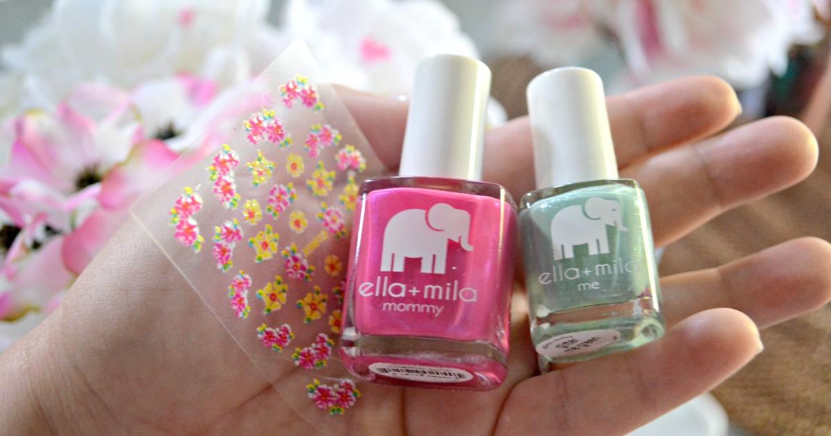 ella mila nail products deal - nail polish closeup plus nail stickers sheet in someone's hand
