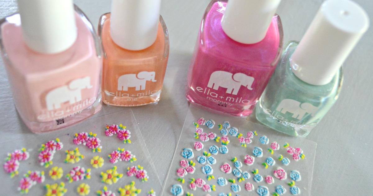 ella mila nail products deal - nail polish closeup plus nail stickers sheet
