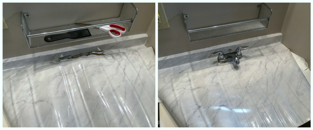 marble counter top DIY - cut out area for faucet