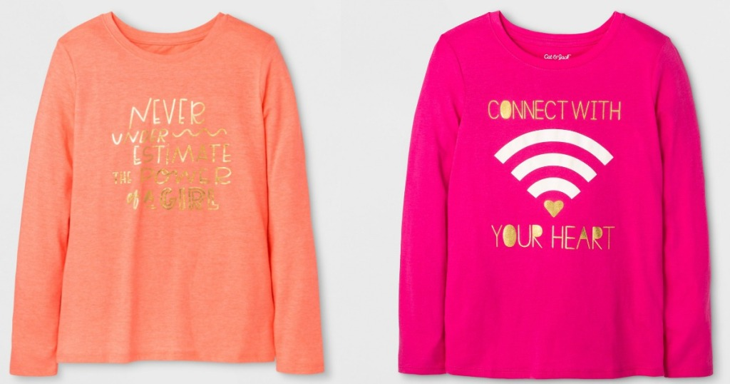 9ff5065557a5 Cat & Jack Girls' Long Sleeve Coral Graphic Tee Only $2.10 (regularly $7)