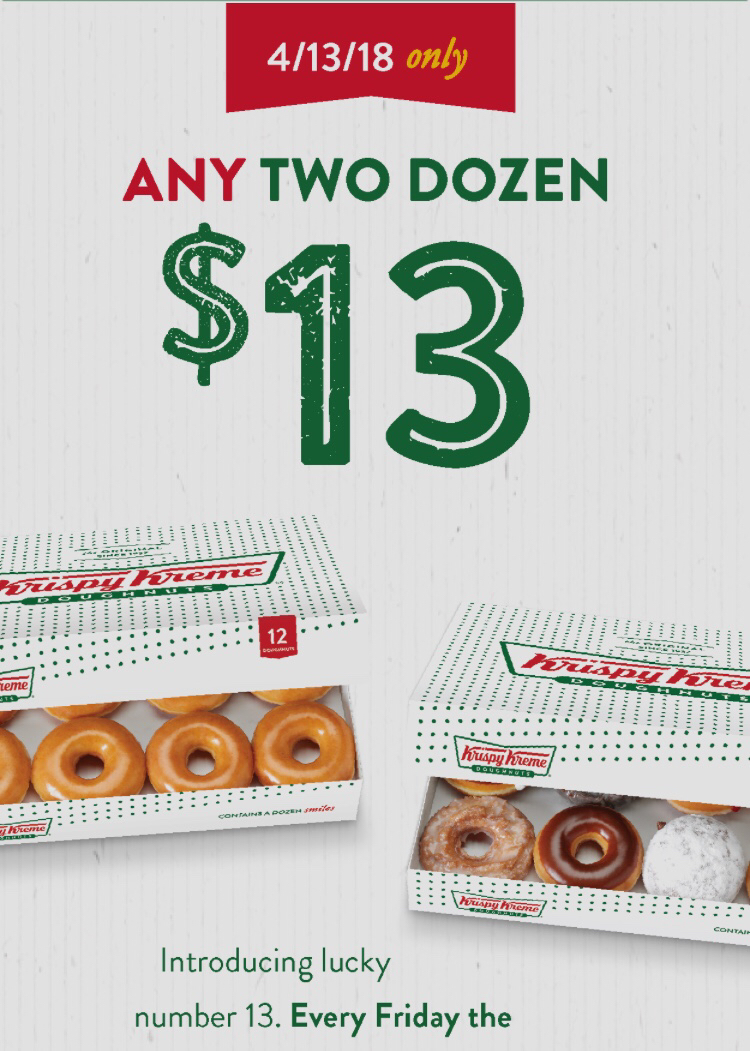 Krispy Kreme: TWO Dozen Donuts for Only $13 on Friday The 13th ...