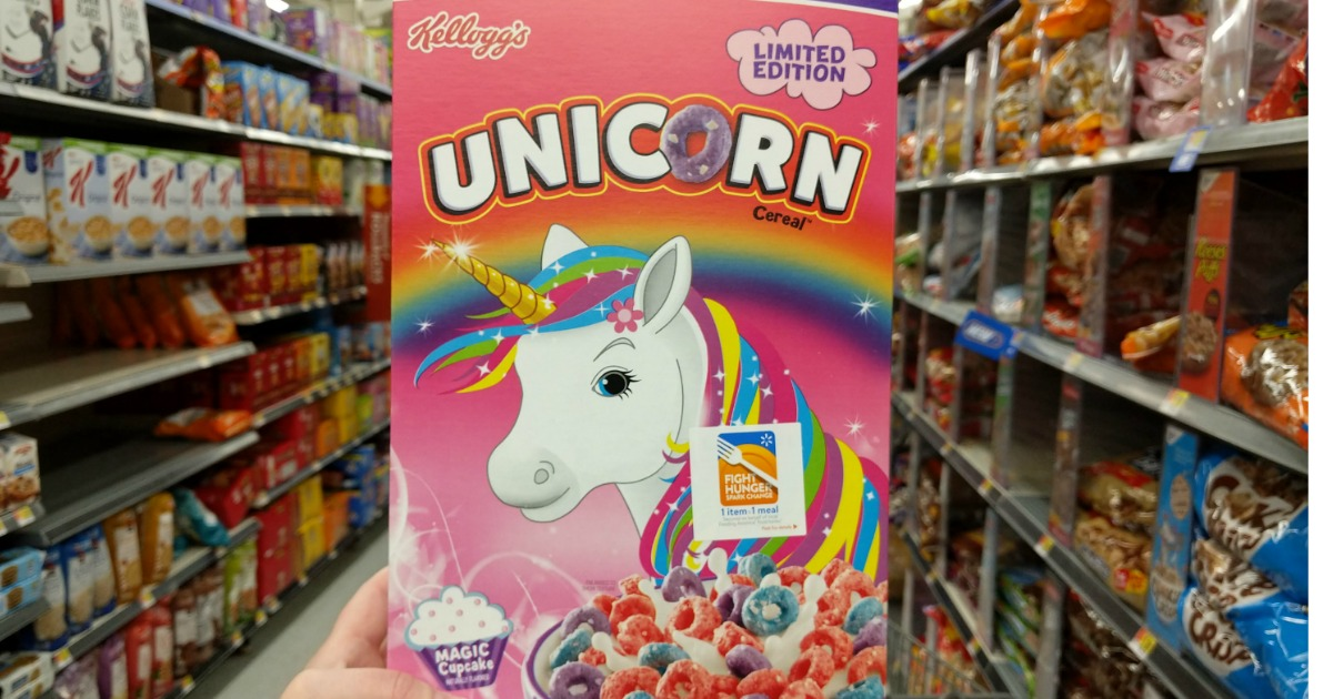 kellogg's limited edition unicorn cereal being held in store