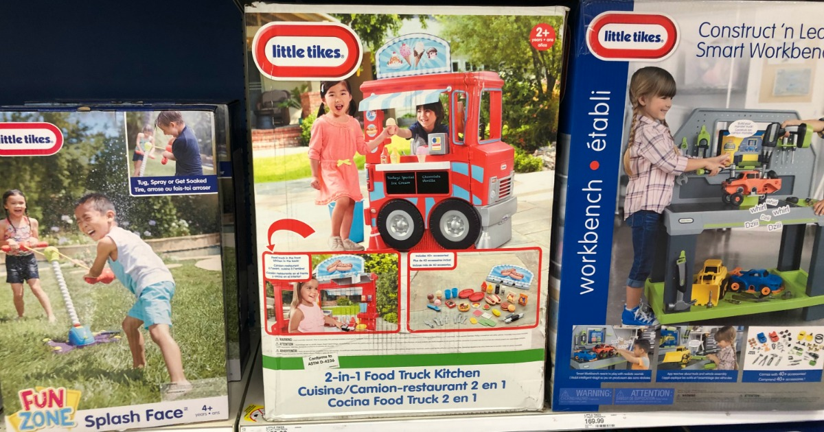 little tikes 2 in 1 food truck kitchen in box on shelf in store