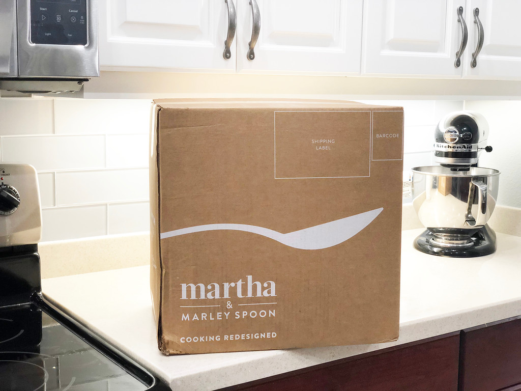 get a deal on your first box martha & marley spoon – box on the counter