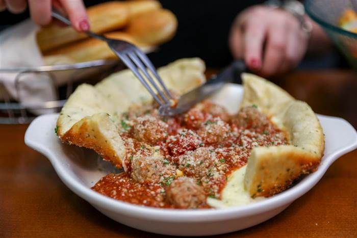 This Olive garden meatball pizza bowl is a family favorite.