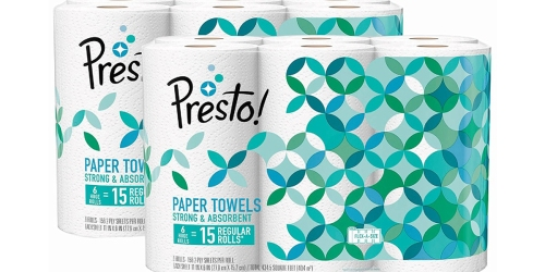 Amazon: TWELVE Presto! Paper Towels Huge Rolls Just $20.04 Shipped (Only $1.67 Each)