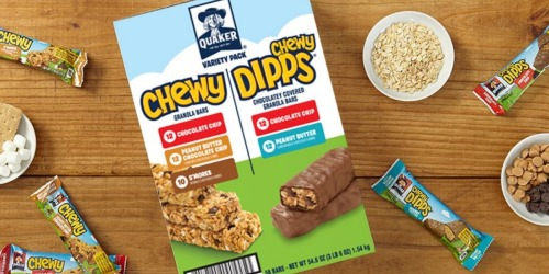 Quaker Chewy Dipps & Granola Bars 58-Count Variety Pack $12 Shipped on Amazon