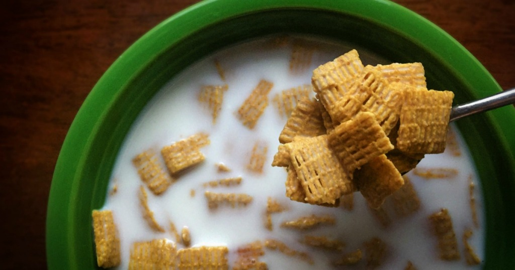 Quaker Life cereal in a green bowl with milk