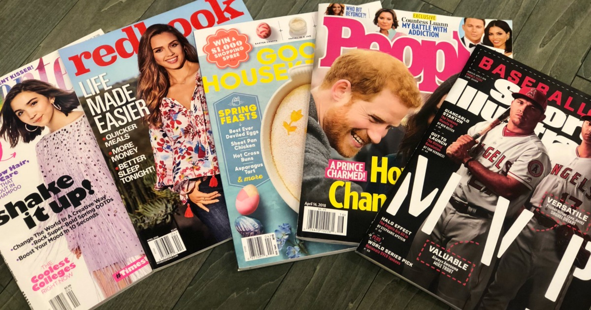 No-cost magazine deal on magazines like O. Pictured: People, Sports Illustrated, Good Housekeeping, Redbook, and Seventeen