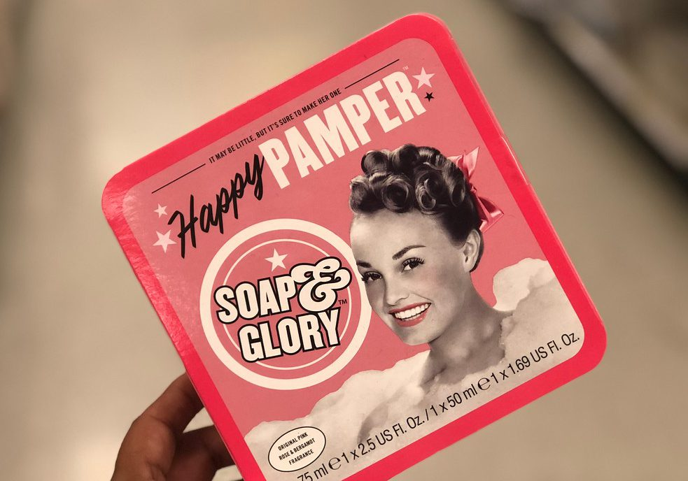 hand holding a Soap & Glory gift set
