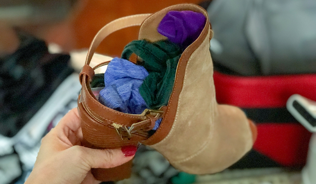 pack socks and underwear inside of shoes, bras, and purses hip2save