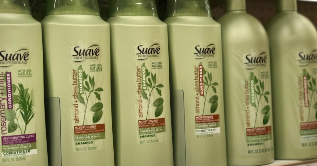 green bottles of shampoo