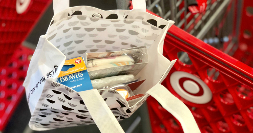 Get a free Target Baby Bag with a baby registry – a sample of what is inside the bag
