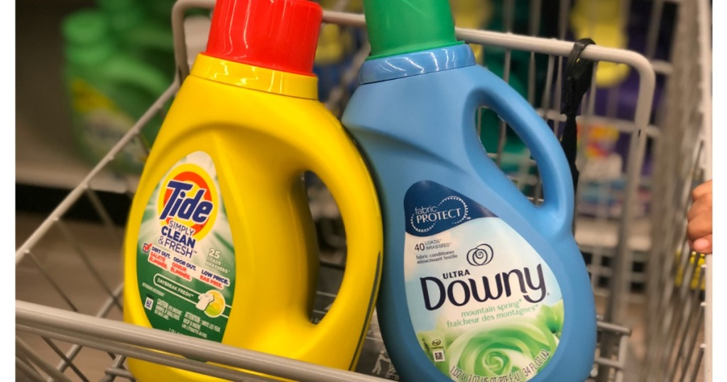 tide and downy laundry care in basket