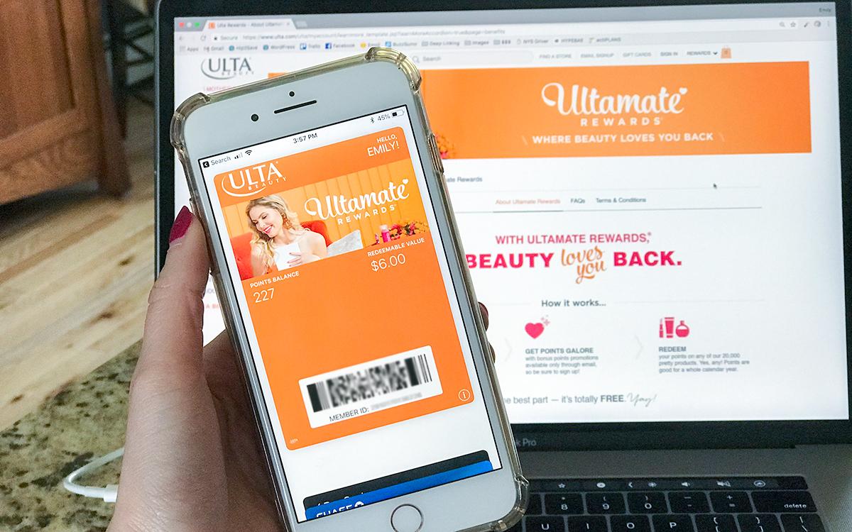 smartphone and laptop showing ulta ultamate rewards membership