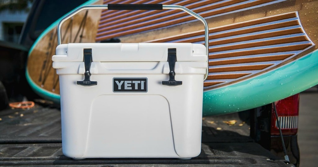 YETI Roadie 20 Cooler 2 in truck bed with boat