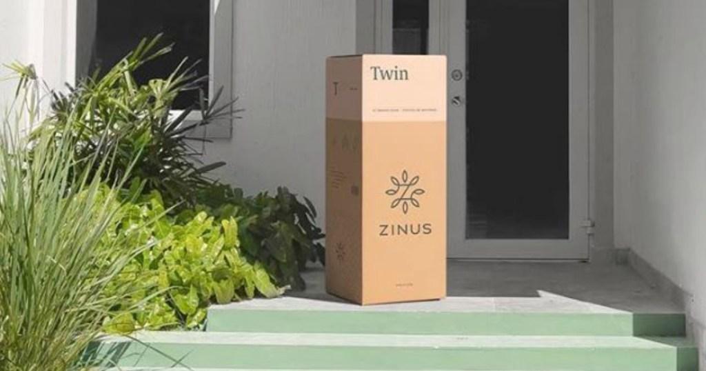 zinus box on front porch
