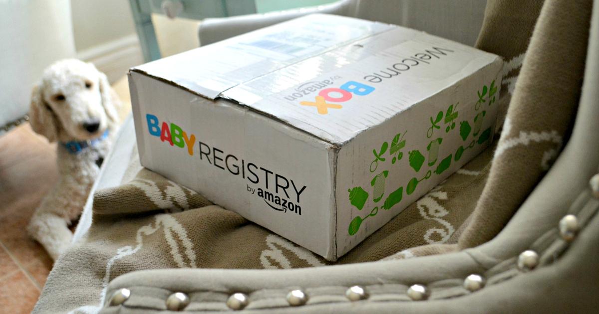 Free Amazon baby box – closeup of closed registry box