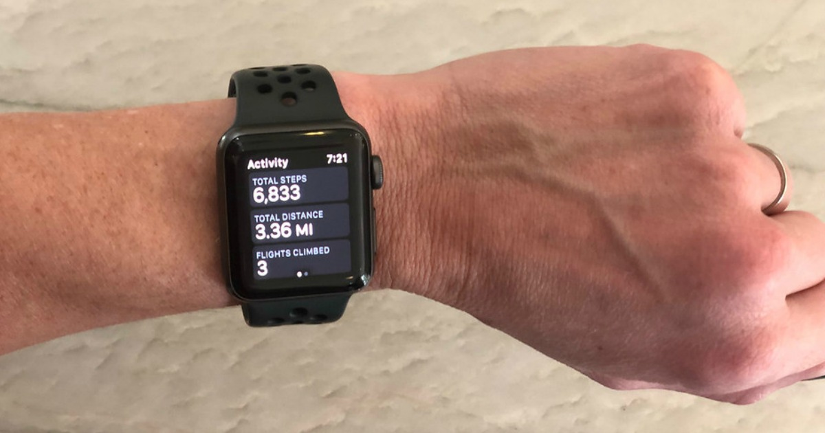 stay connected with an apple watch - Collin's wrist wearing an Apple watch