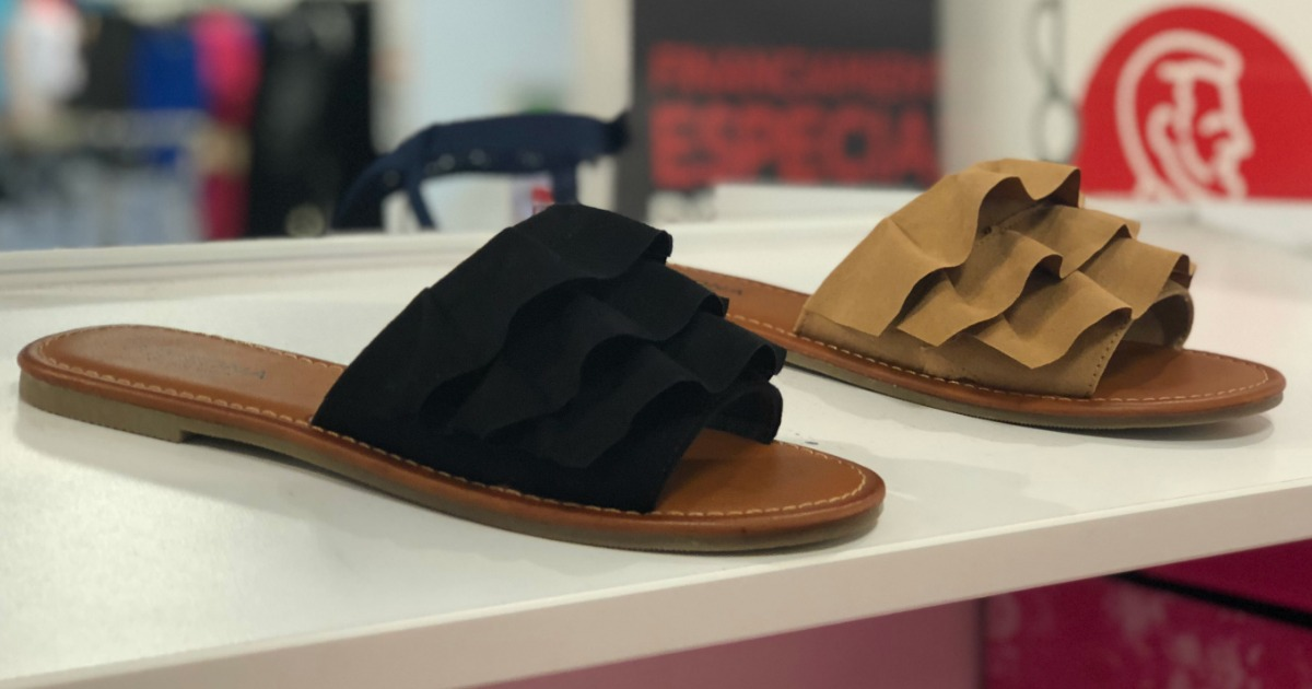 sandals on shelf at JCPenney