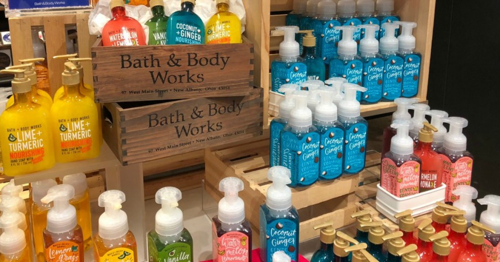 Bath & Body Works hand soaps displayed in crates and on shelves