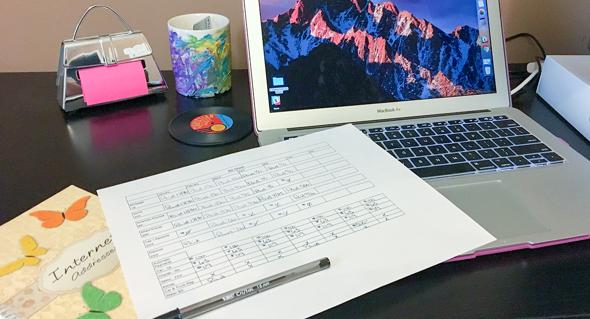 stay organized when life gets crazy — bill paying spreadsheet