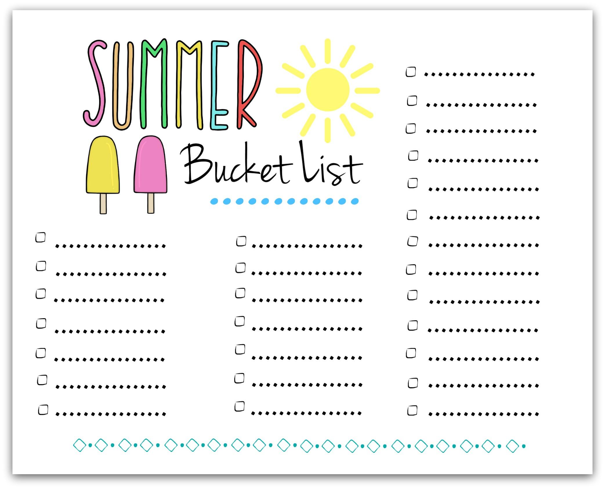 free printable summer bucket list – left blank for your ideas