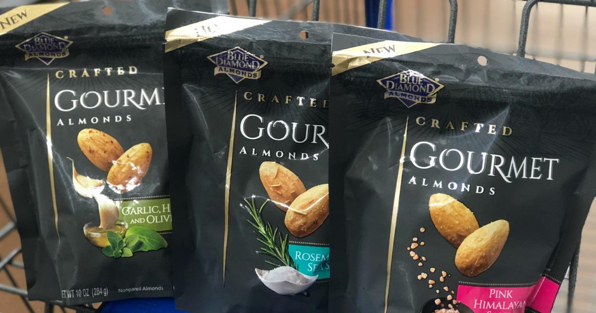 blue diamond gourmet almonds in a cart