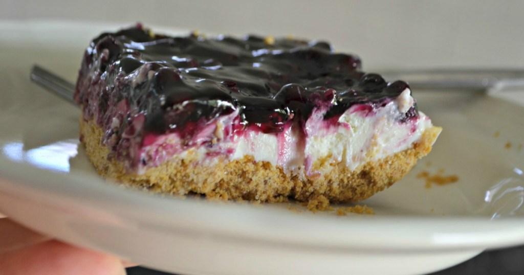 blueberry cheesecake dessert slice on white plate