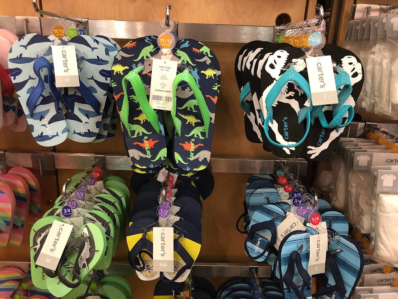 carter's kids flip flops on display at store