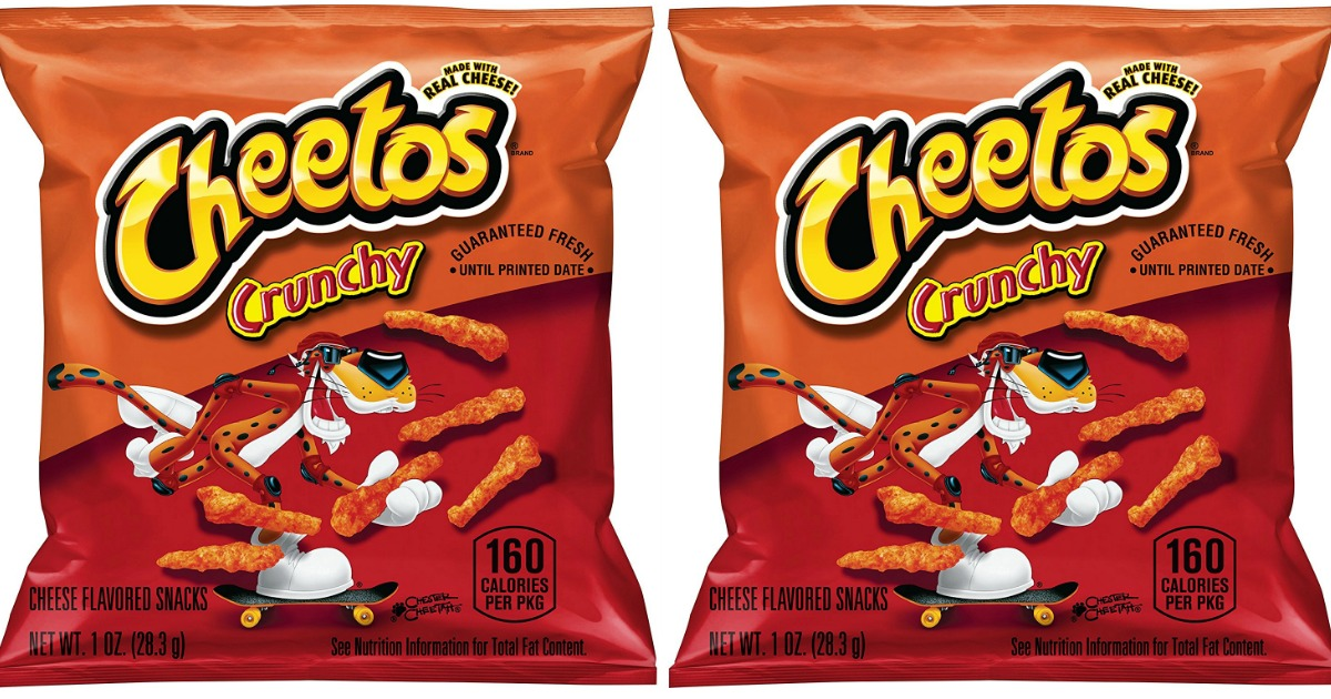 two small bags of crunchy cheetos