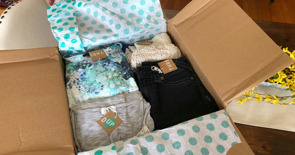 thredup goody box — packaged clothes