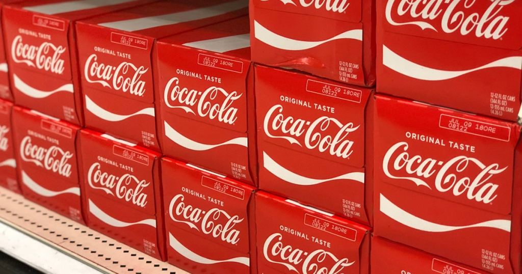 coca cola 12 packs shown in a row