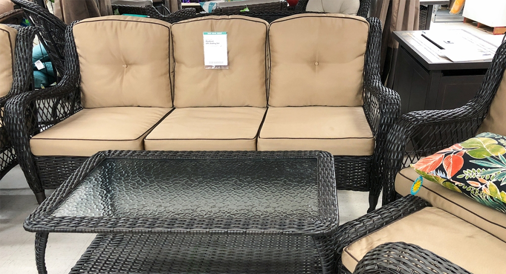 budget patio finds — conversation set with sofa and coffee table