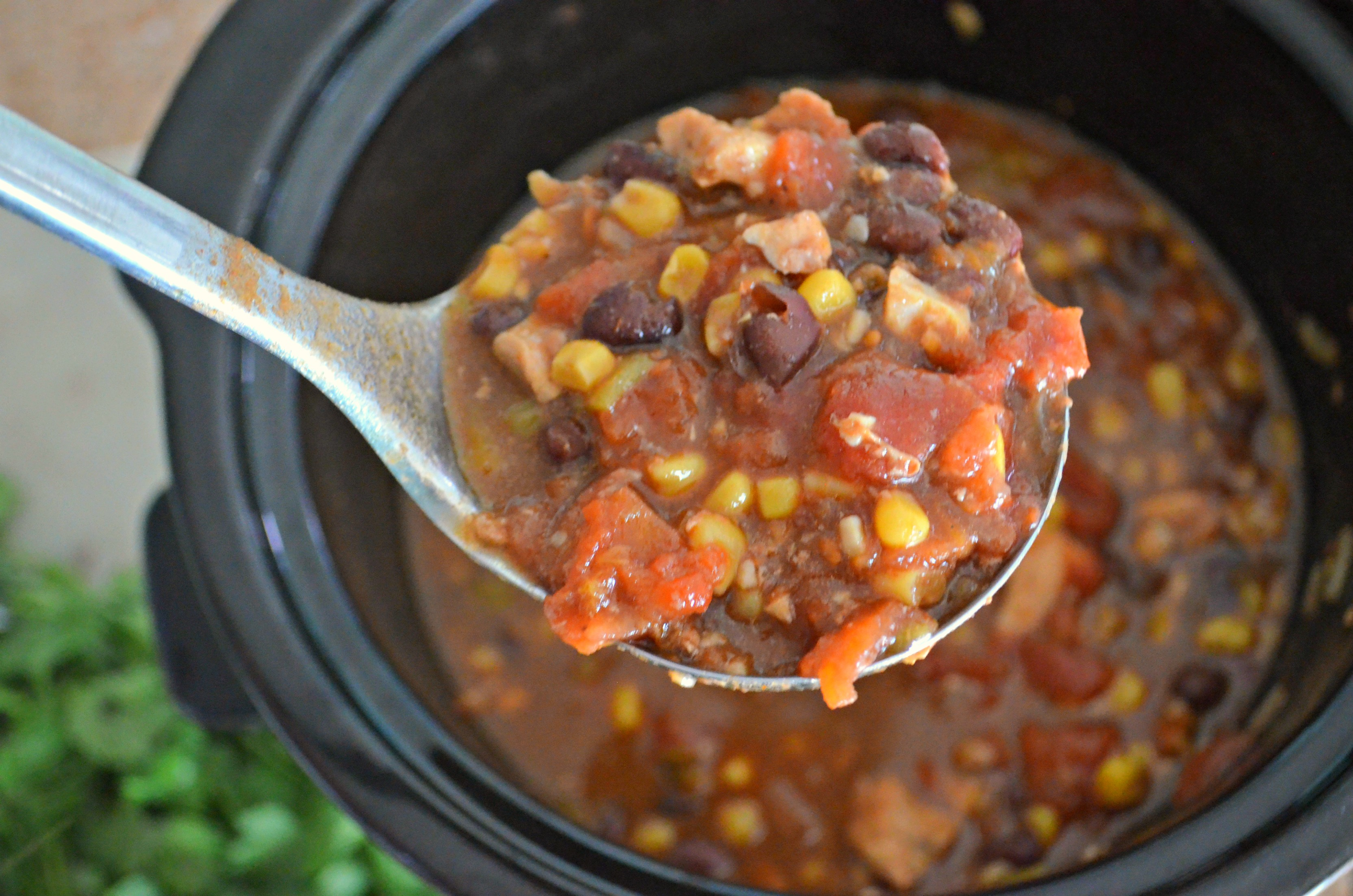 easy slow cooker chicken black bean chili in a ladle