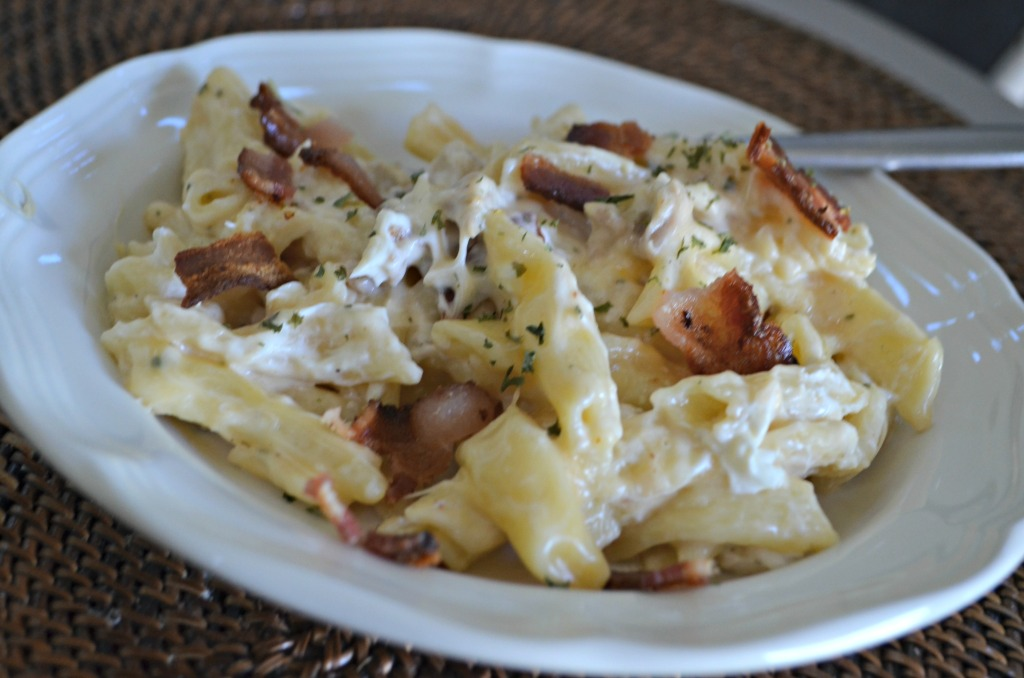 chicken bacon ranch pasta in dish