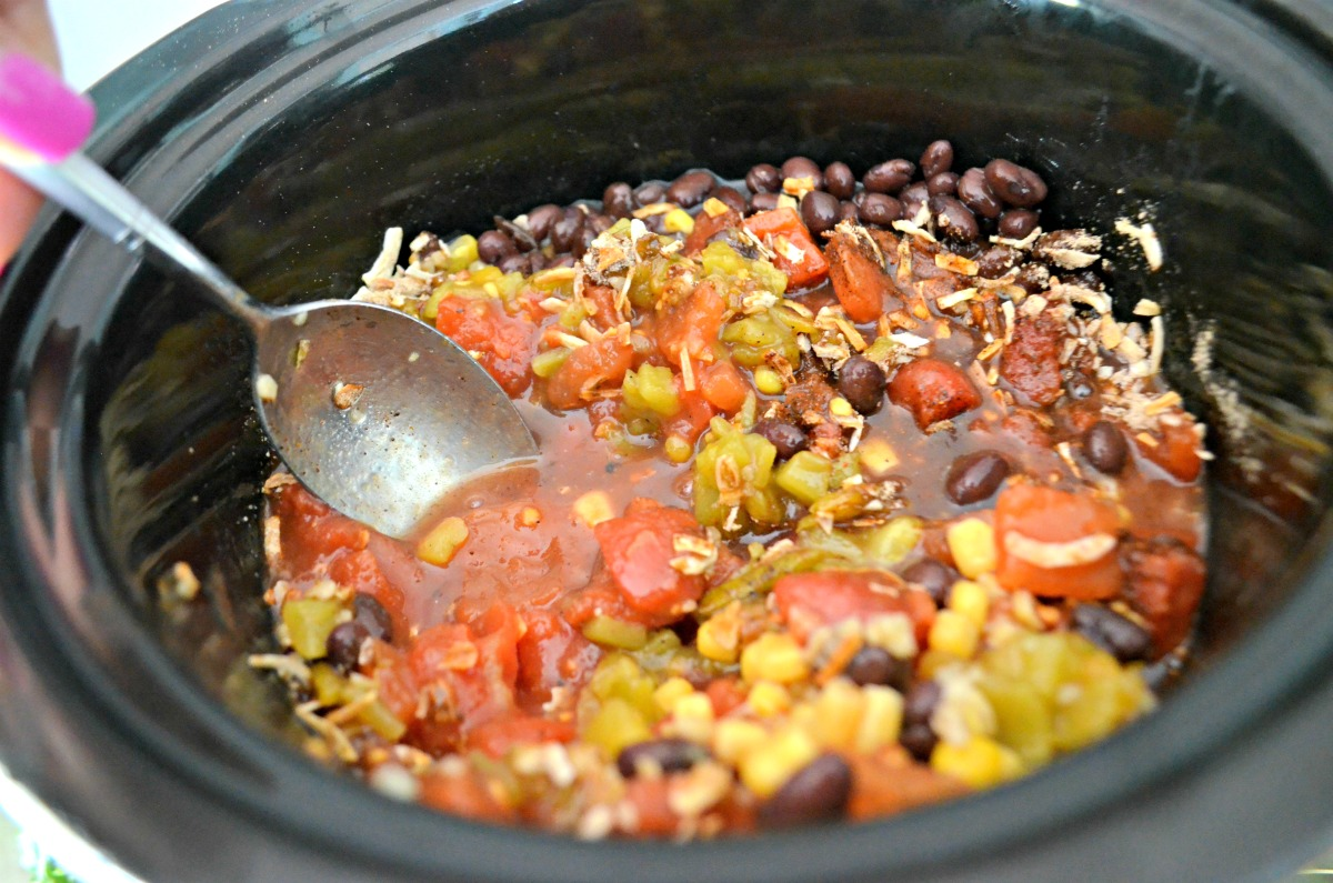 easy black bean chili slow cooker in a Crock-Pot