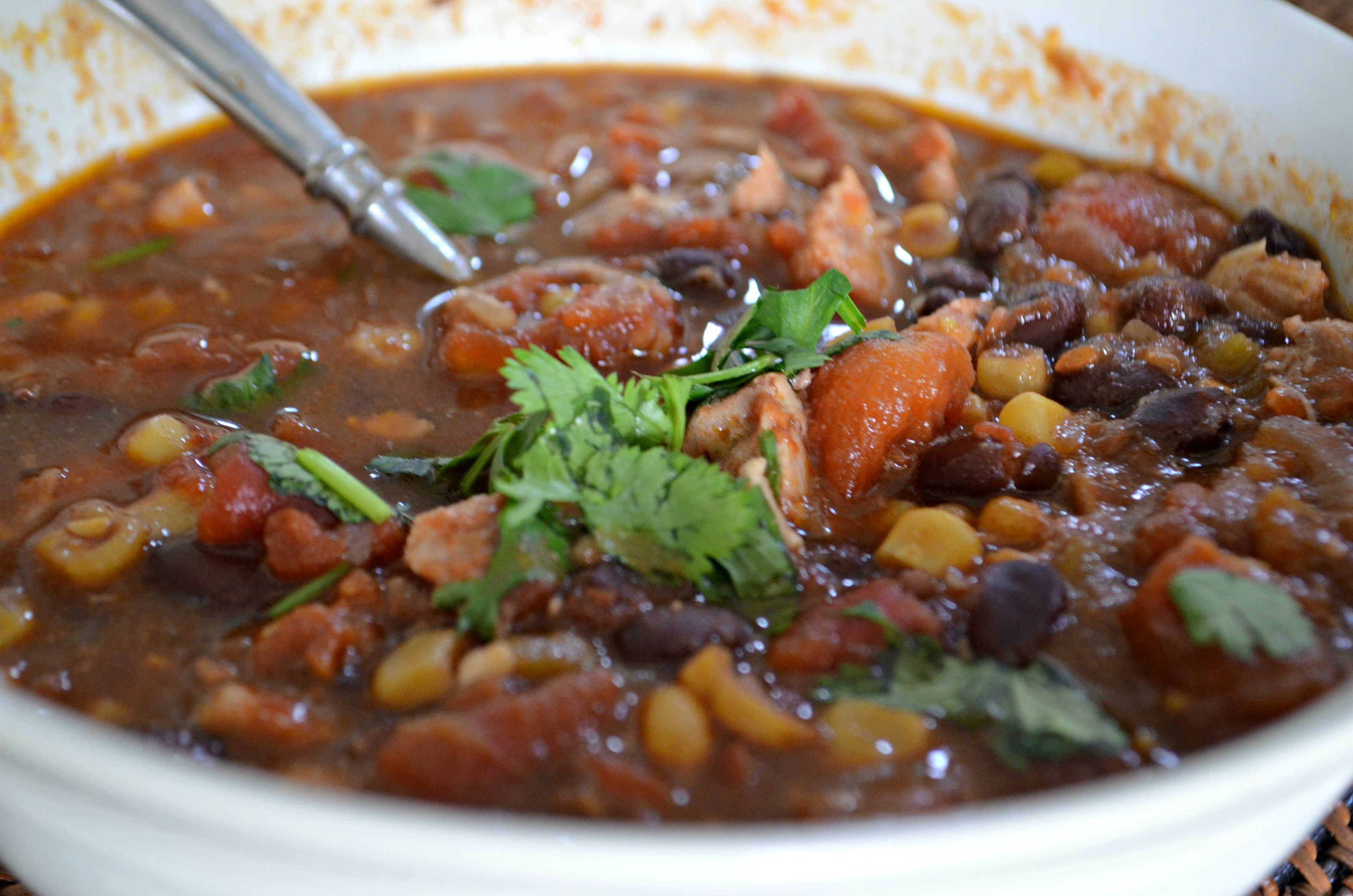 easy slow cooker chicken black bean chili in a bowl