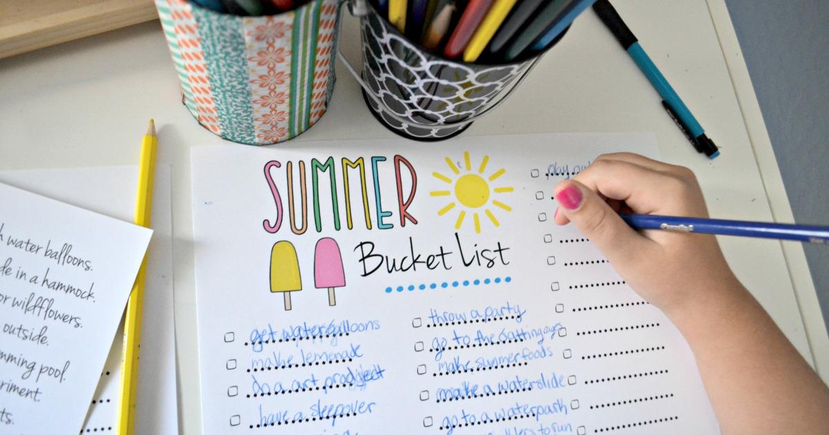 child writing on Summer Bucket List printable