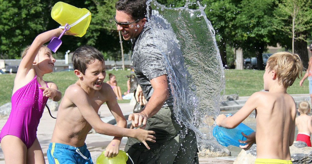 free summer activities for kids — water pads and pools