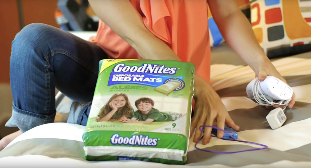 stop bed wetting with older children — using goodnites mats with malem alarm