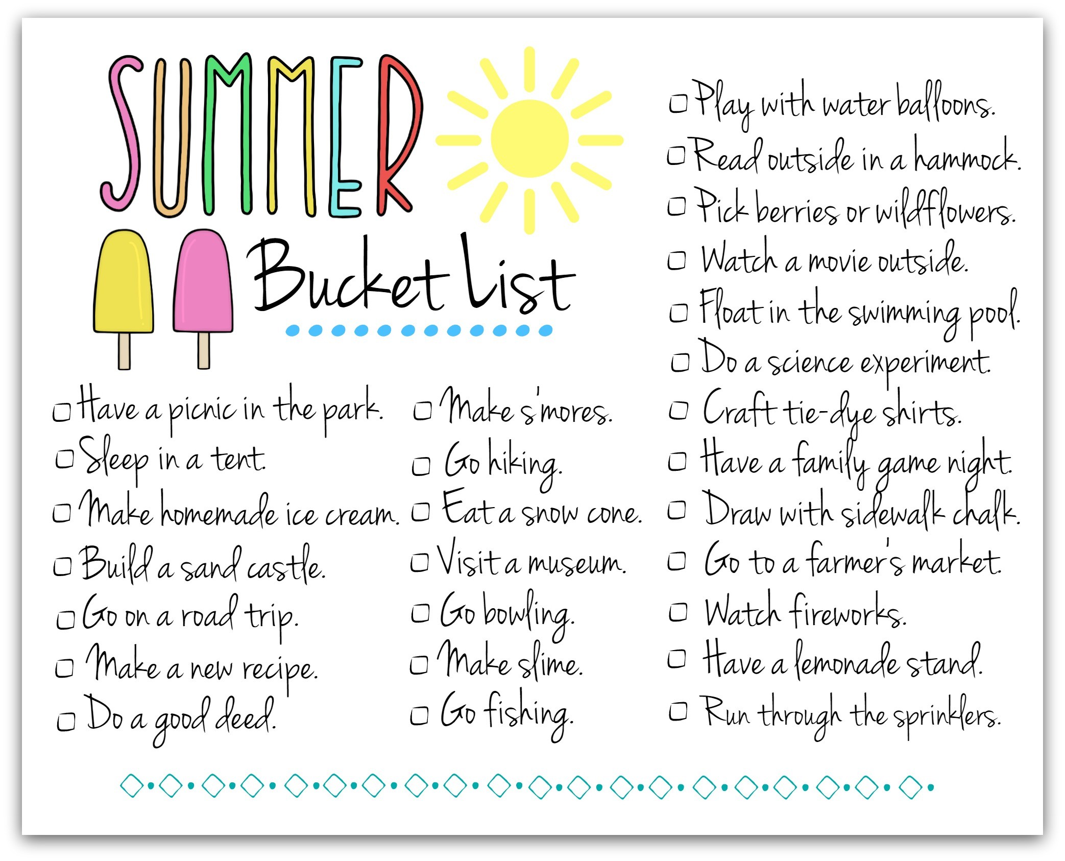 graphic about Summer Printable named Rejoice Summer season with This Absolutely free Printable Summertime Bucket Listing