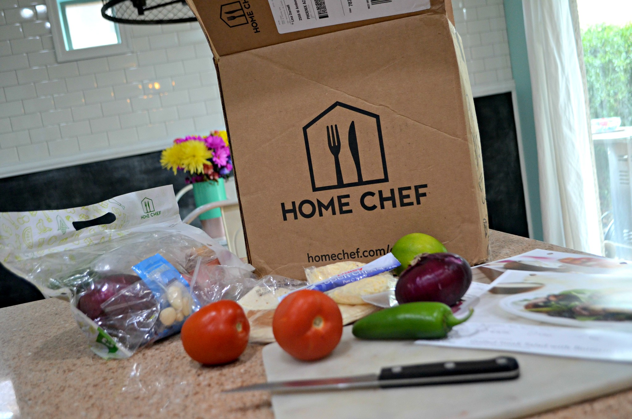 Home Chef Deal - box on the counter top with fresh produce