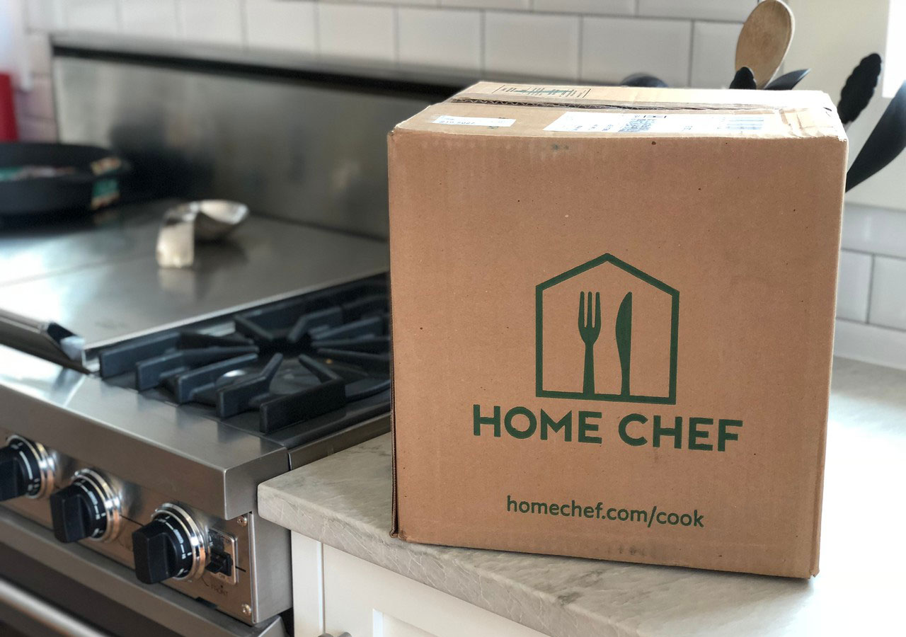 home-chef delivery box on the kitchen counter