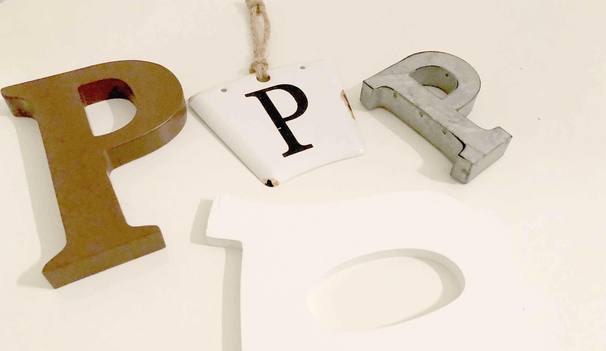 This simple fast home decor idea uses the letter P in different materials.