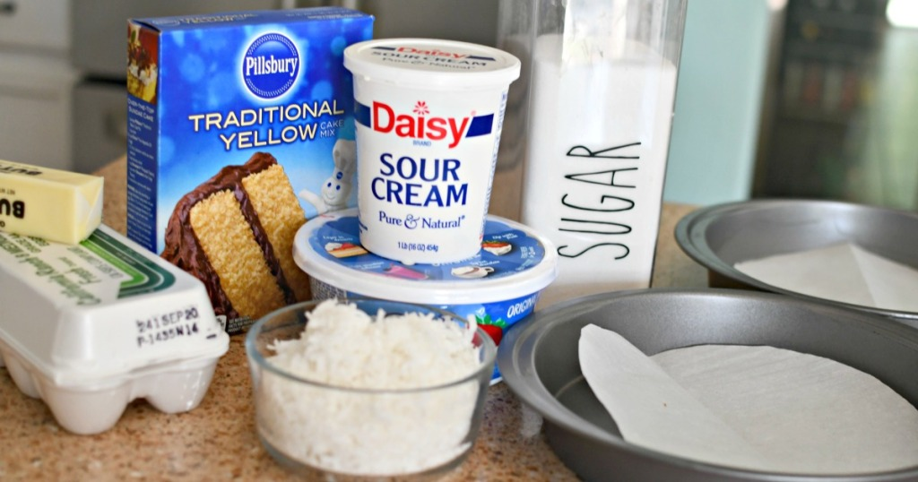 ingredients for sour cream coconut cake
