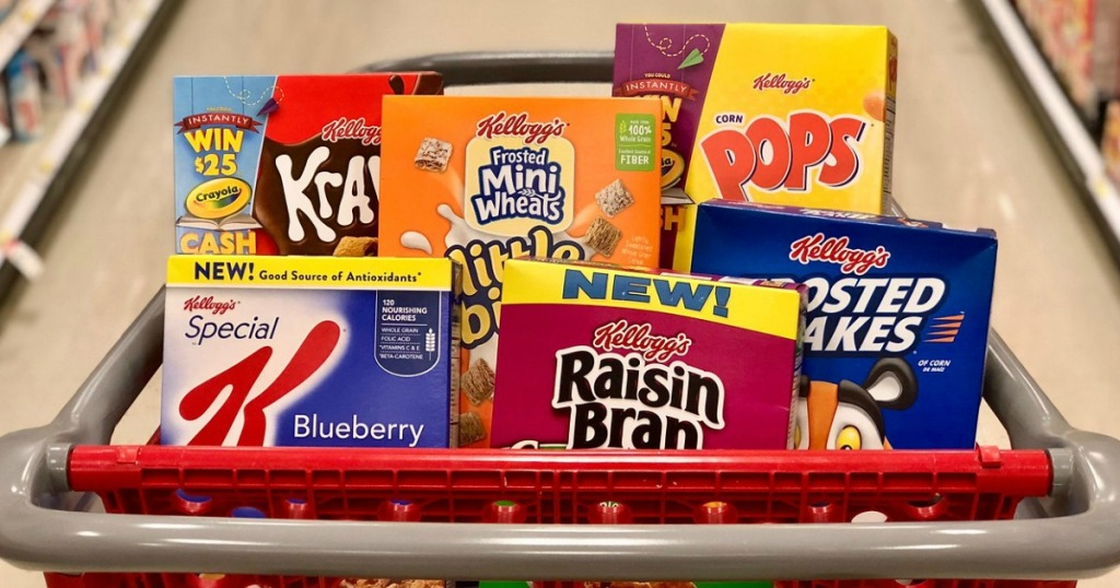 various Kellogg's cereals in a Target cart