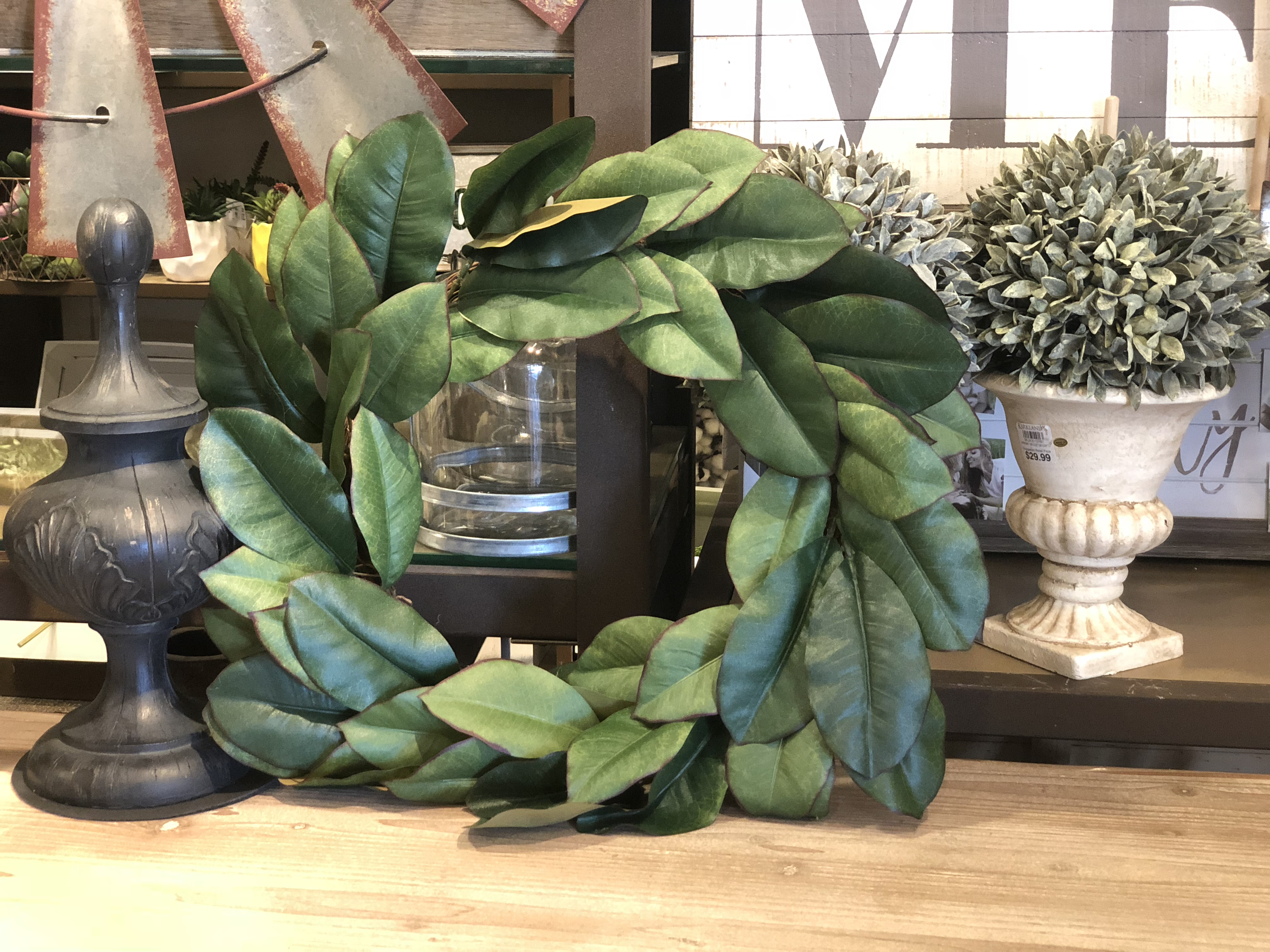 Kirkland's Magnolia Wreath frugal look-alike